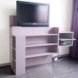 Meubelwerktekening van TV-meubel met lift, zelf maken in hout of mdf