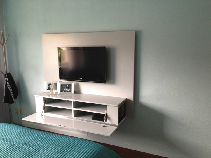 Tv meubel maken tekening hangende tv kast - Muur plank onder tv ...