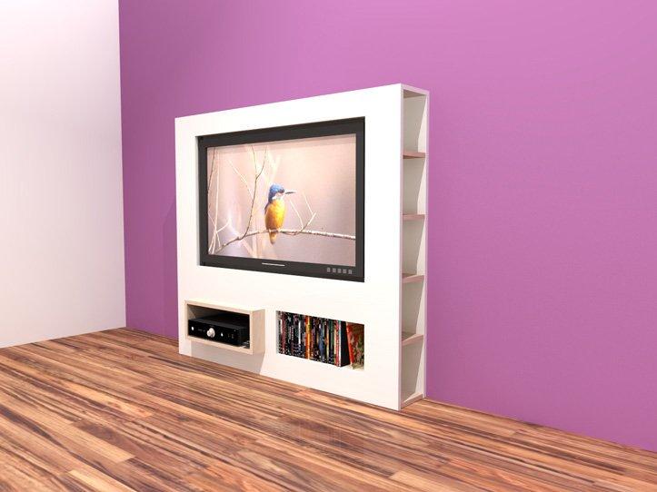 TV-meubel maken, tekening hangende tv-kast