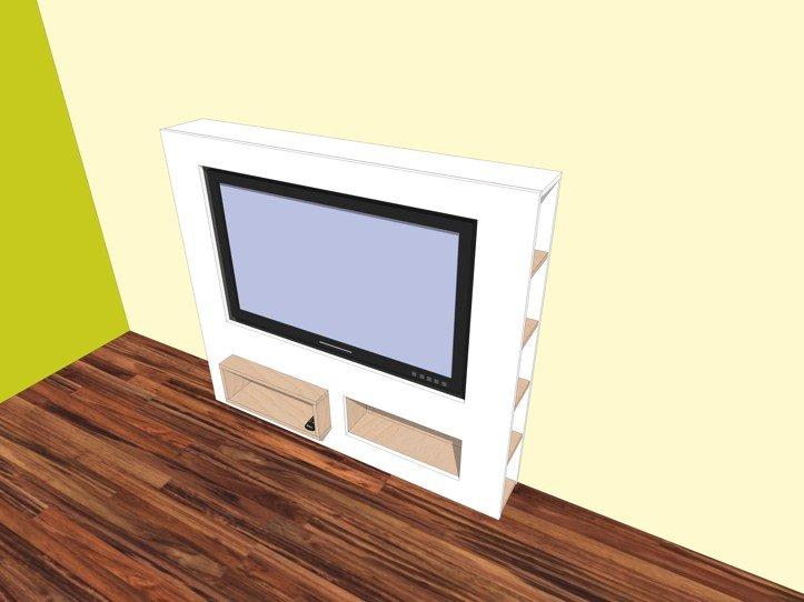 werktekening tv meubel modern zelf maken in hout of mdf