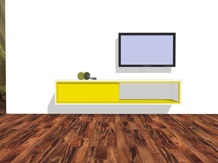 Werktekening TV-meubel, zwevend, zelf maken in hout of mdf