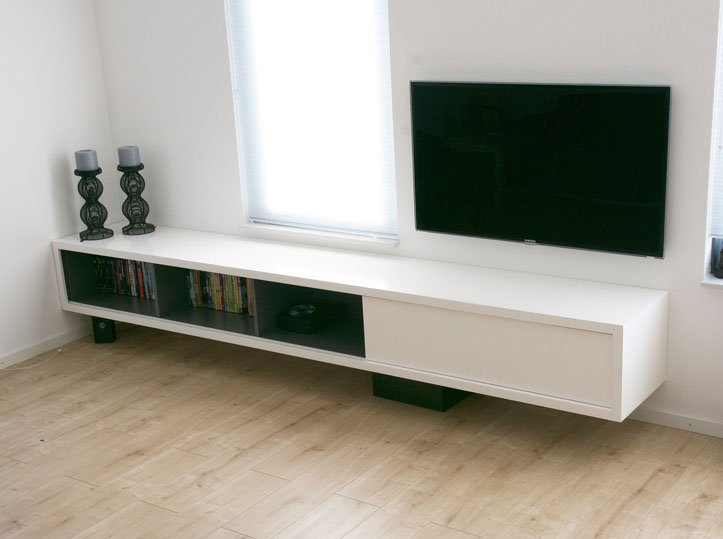Werktekening TV-meubel, hangend, zelf maken in hout of mdf