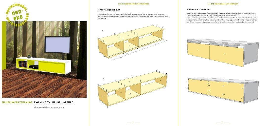 Werktekening tv meubel zwevend zelf maken in hout of mdf - Planken maken in een kast ...
