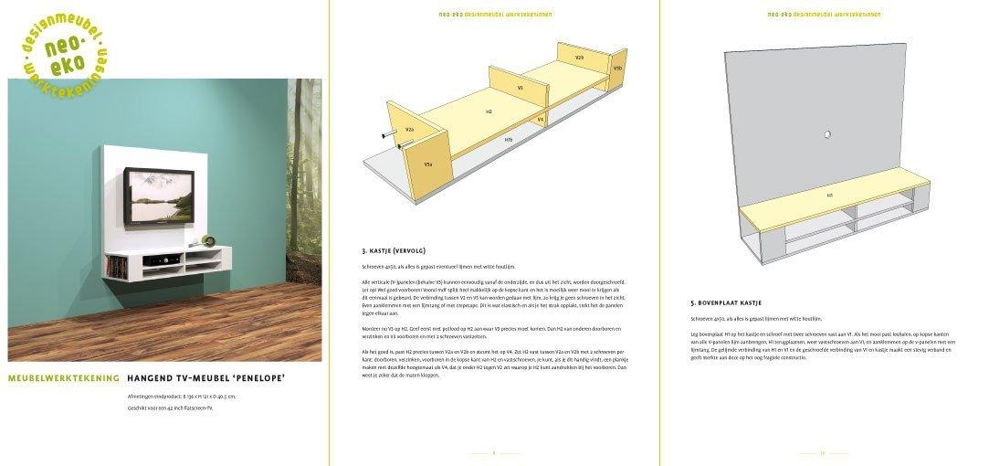 Werktekening van zelfbouw tv-meubel maken Penelope