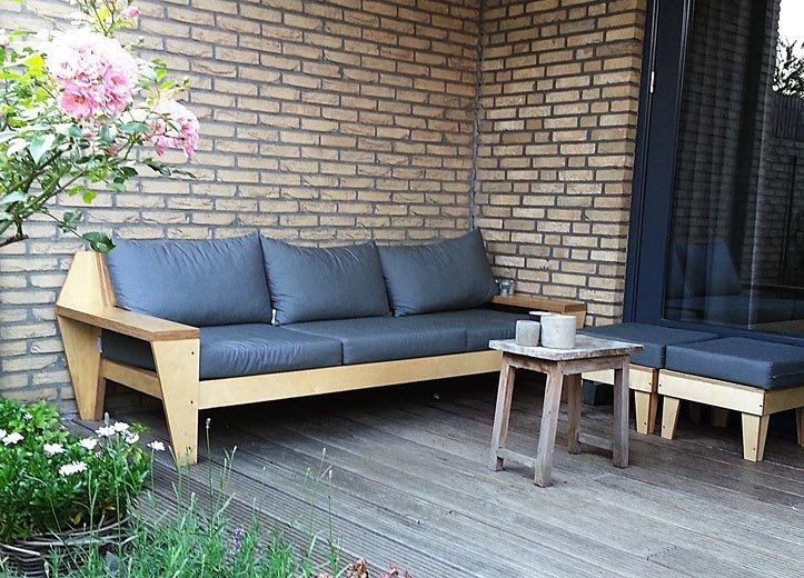 Loungebank zelf maken werktekening bouwtekening tuinbank for Zelf loungeset maken