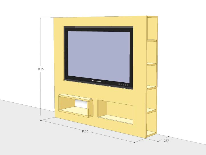 werktekening tv meubel modern zelf maken in hout of mdf. Black Bedroom Furniture Sets. Home Design Ideas
