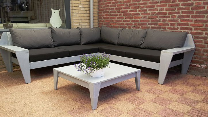 Zelf lounge hoekbank maken bouwtekening loungeset for Bouwtekening hoekbank