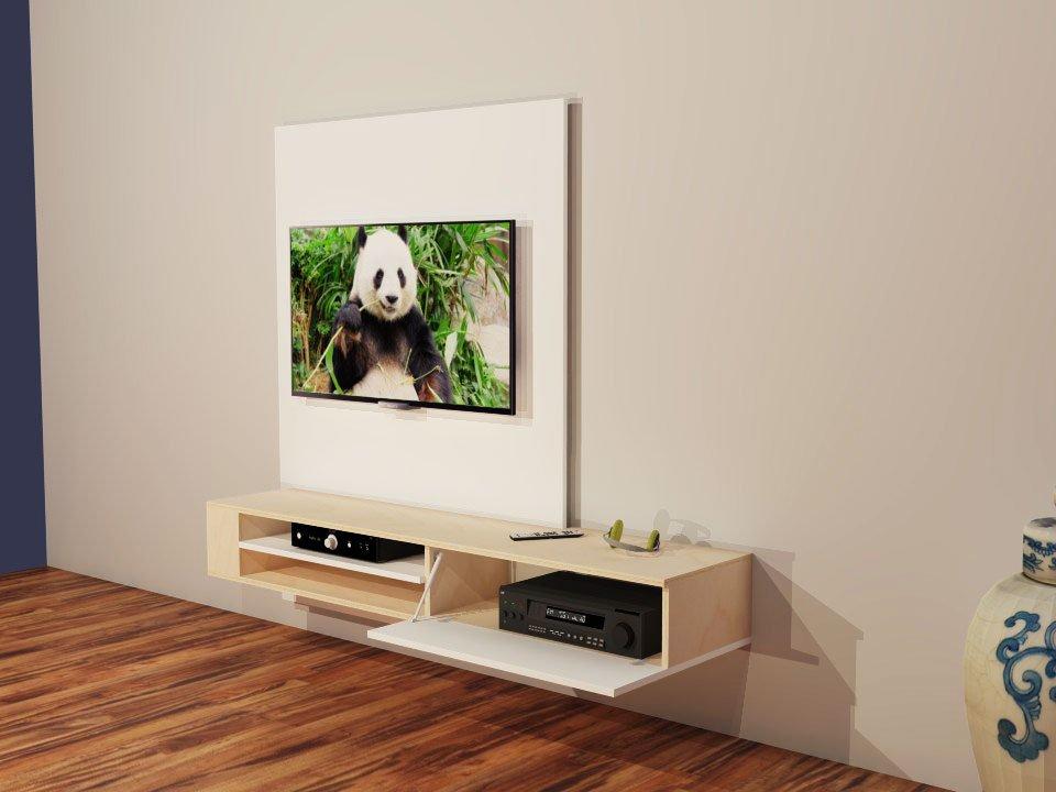 Bouwtekening TV kast, zelf een hangend tv meubel maken