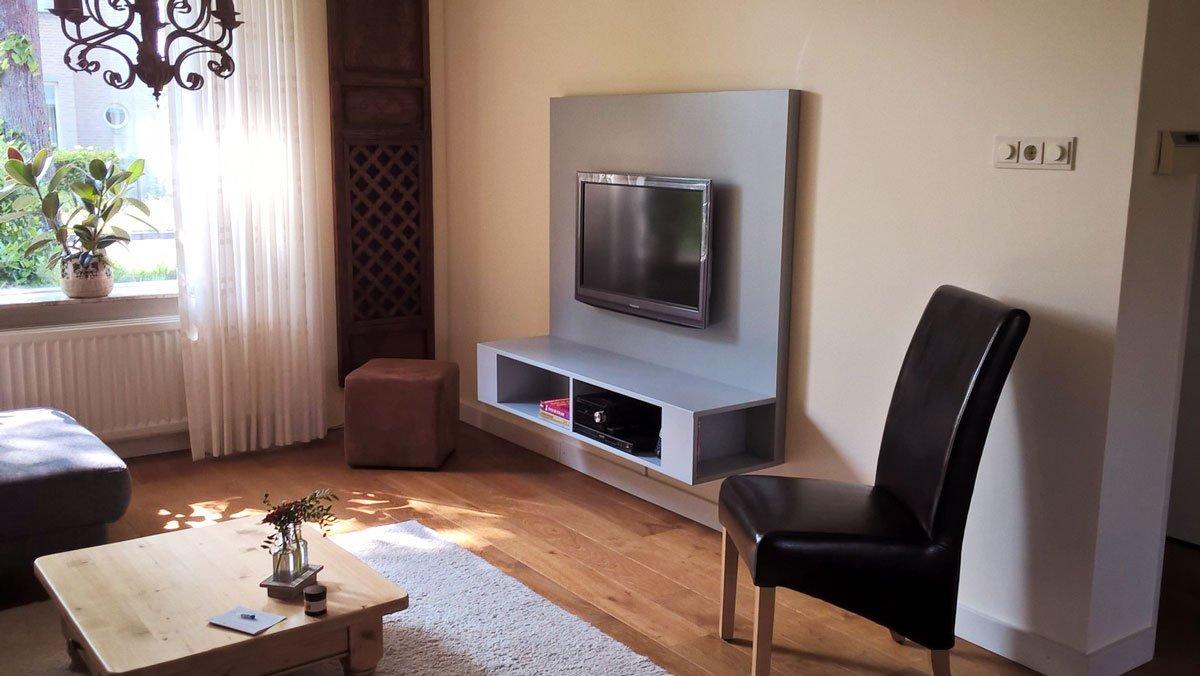 Tv meubel maken, tekening hangende tv kast