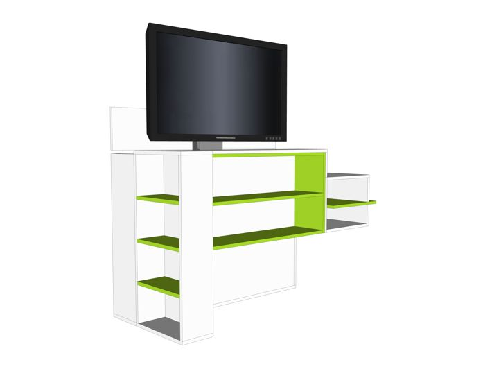 Bed Tv Meubel : Meubelwerktekening van tv meubel met lift zelf maken in hout of mdf