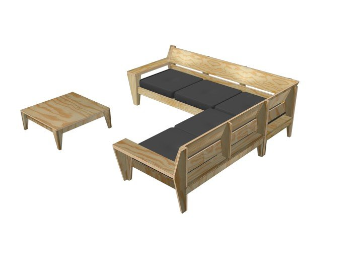 Genoeg Zelf Lounge hoekbank maken, bouwtekening loungeset @US21