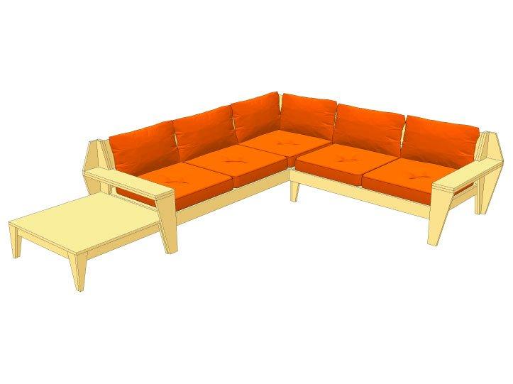 Top Zelf Lounge hoekbank maken, bouwtekening loungeset IQ02