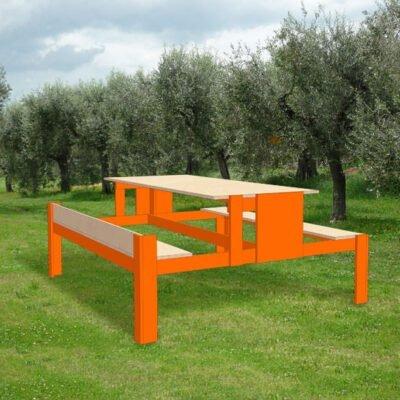 Impressie picknicktafel zelf bouwen