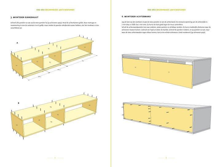 Werktekening TV meubel, zwevend, zelf maken in hout of mdf