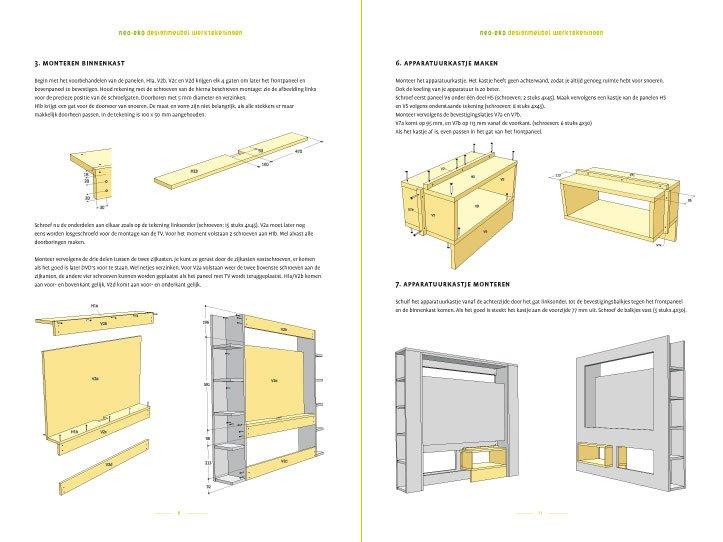 Bekend Werktekening TV-meubel, modern, zelf maken in hout of mdf XA85