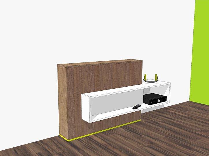 zelfbouw tv-meubel met lift Astor