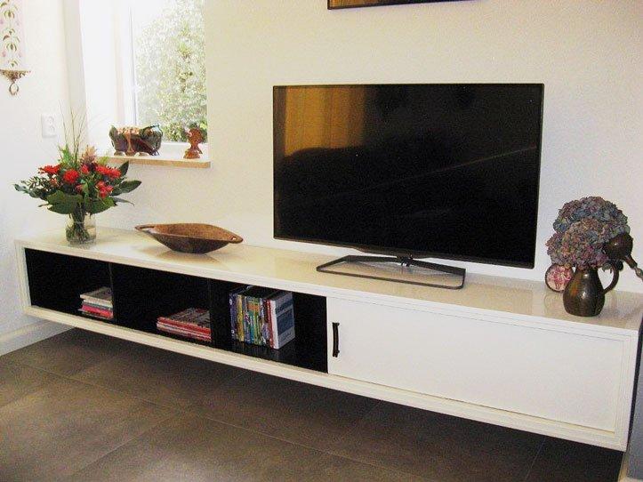 Tv Paneel Wand: Tv meubel maken tekening hangende kast. massief eiken ...