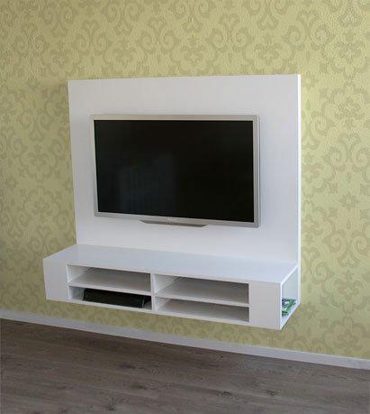 Flatscreen Audio Tv Meubel Design.Zwevend Tv Meubel Met Achterwand