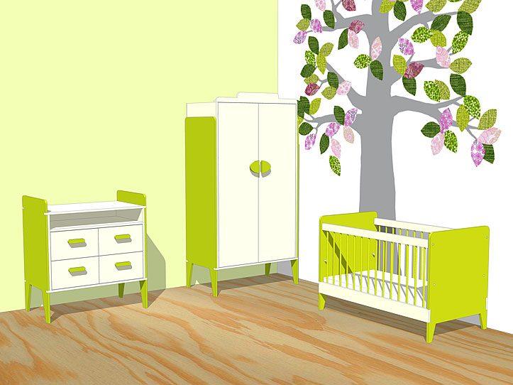 kinderkamer meubels ledikant commode kast vrolijk origineel zelf maken met meubelwerktekening