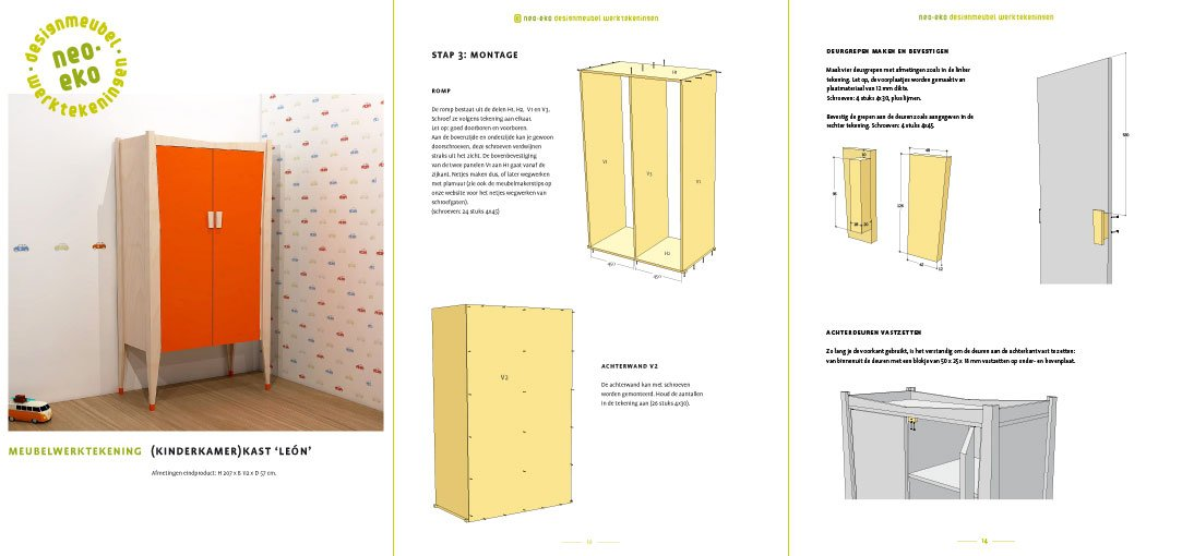 Werktekening + handleiding voor kinderkamer garderobekast Leon