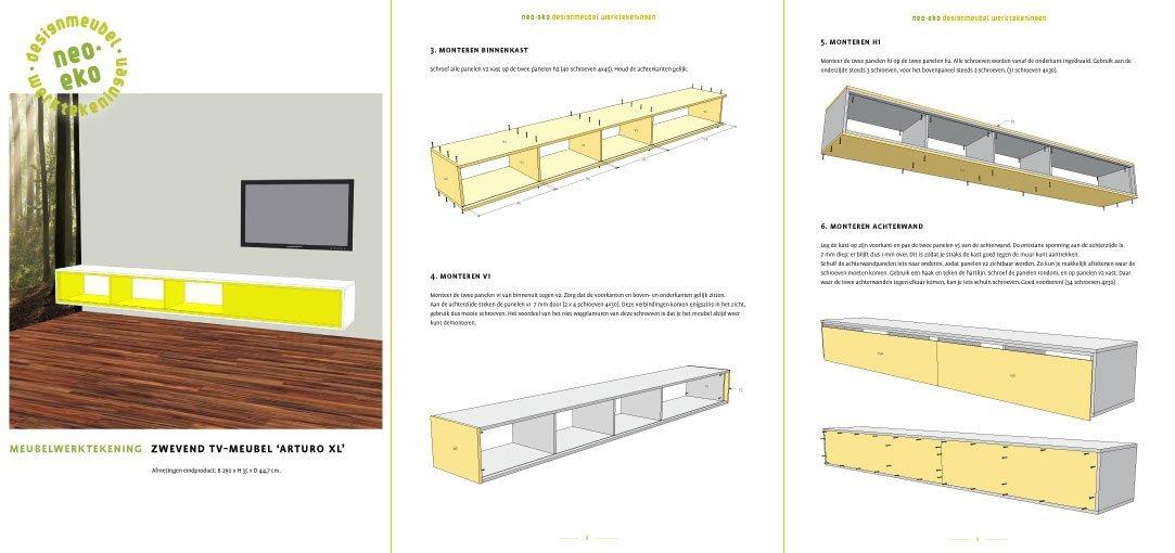 preview van de werktekening van zelfbouw extra lang dressoir hangend tv meubel arturoxl