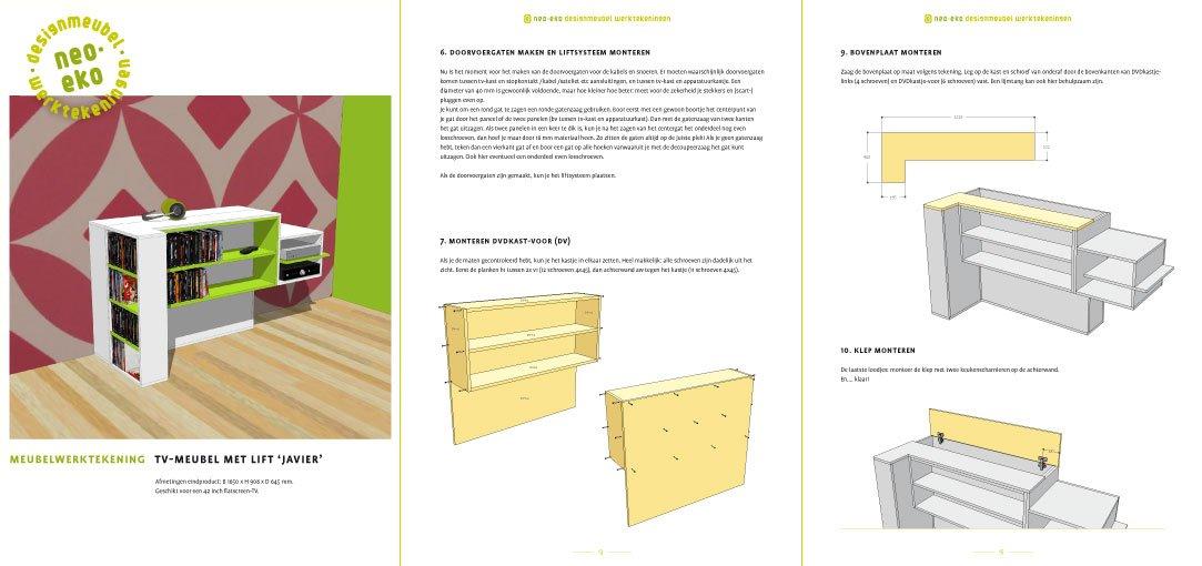 preview van de werktekening van zelfbouw tv kast met lift javier