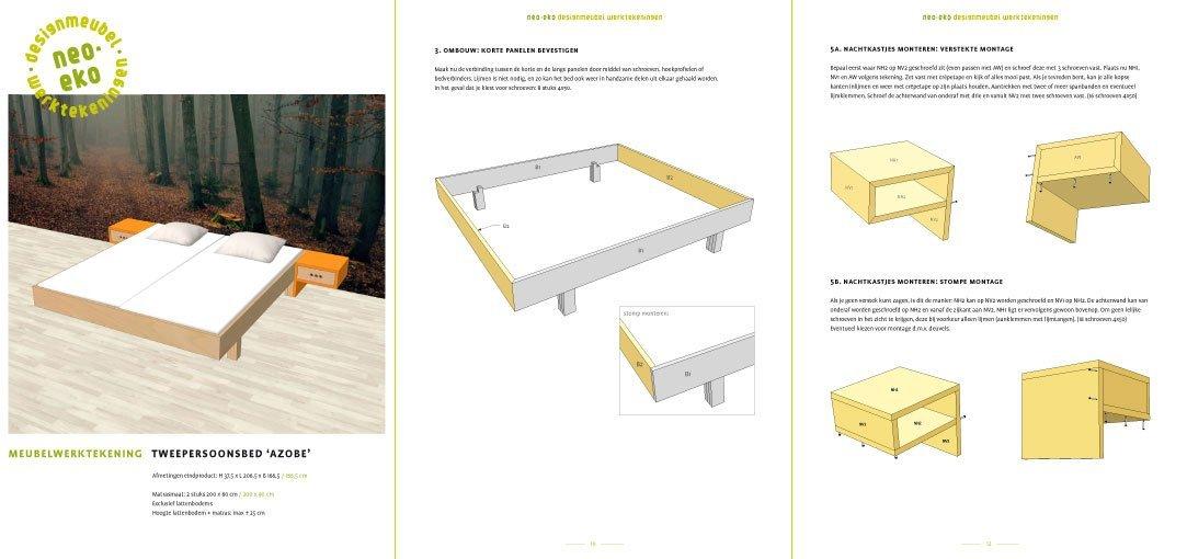 preview van de werktekening van zelfbouw tweepersoonsbed met bijpassende nachtkastjes azobe