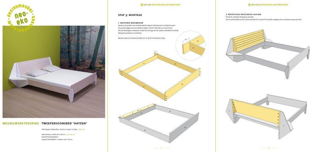 preview van de werktekening van zelfbouw tweepersoonsbed met ingebouwde nachtkastjes hayeda