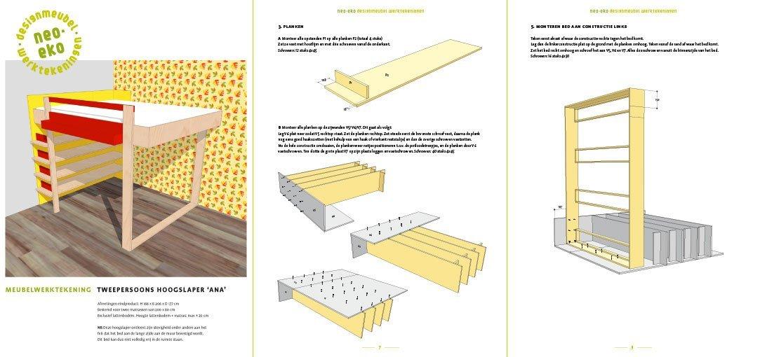 preview van de werktekening van zelfbouw tweepersoons hoogslaper met boekenkast ana