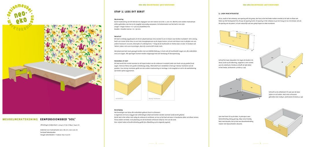 preview van de werktekening van zelfbouw eenpersoons bed met bijpassend nachtkastje sol