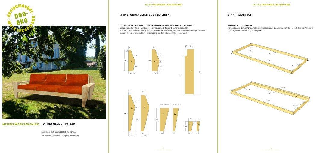 Loungebank maken, preview van de werktekening van zelfbouw loungebank tuinbank yelmo