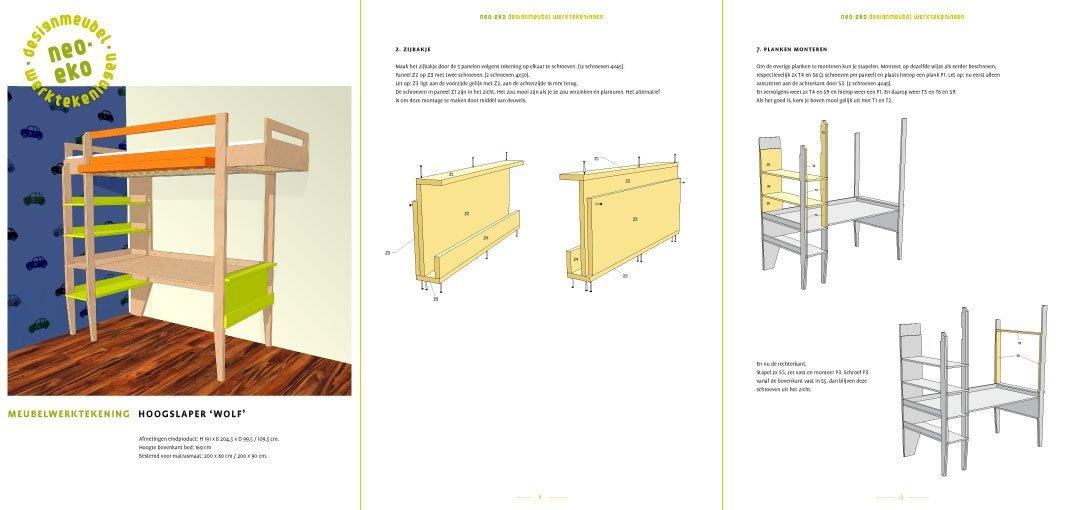 preview van de werktekening van zelfbouw hoogslaper met buro en boekenplanken wofl