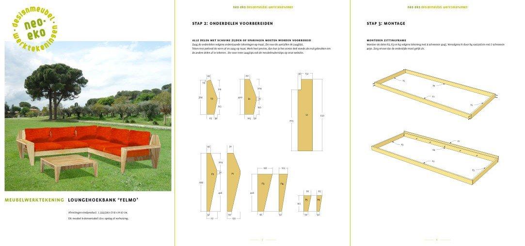Loungeset maken: preview van de werktekening van zelfbouw loungebank hoekbank Yelmo XL
