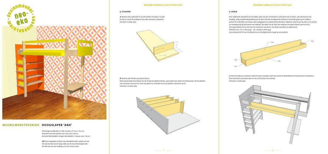 preview van de werktekening van zelfbouw hoogslaper met boekenkast ana