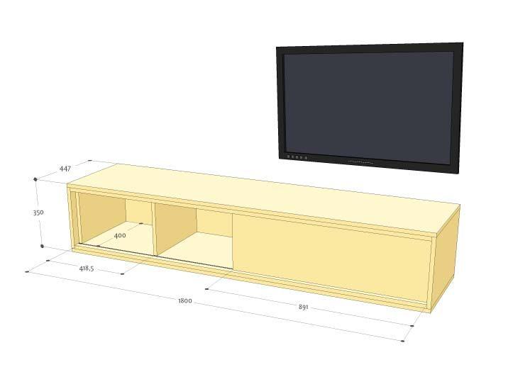 zwevend hangend tv meubel dressoir arturo zelf bouwen werktekening maattekening