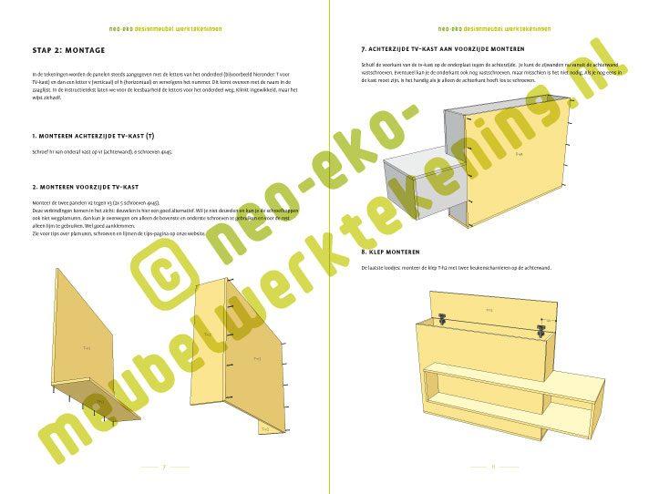 Voorbeeld Bouwtekening tv-meubel met lift astor
