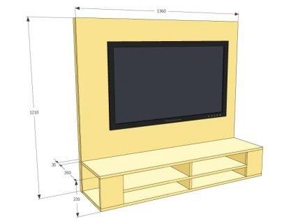 maattekening van hangend tv-meubel maken penelope