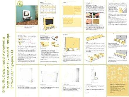 Preview bouwtekening zwevend hangend tv meubel penelope zelf maken
