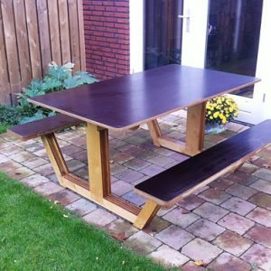 picknicktafel buitentafel ordesa zelf maken met meubelwerktekening door Joep