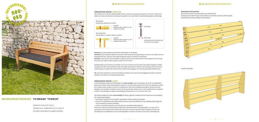 preview van de werktekening van zelfbouw tuinbank Turbón