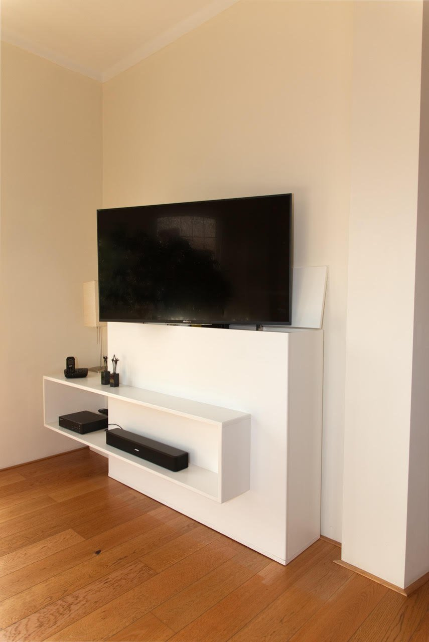 Tv meubel met lift zelf maken in hout of mdf for Tv meubel design