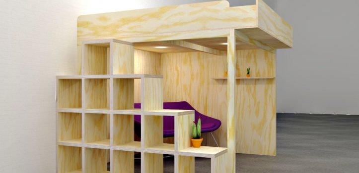 Zelfbouw hoogslaper Carlos, ruimte oplossing voor klein huis