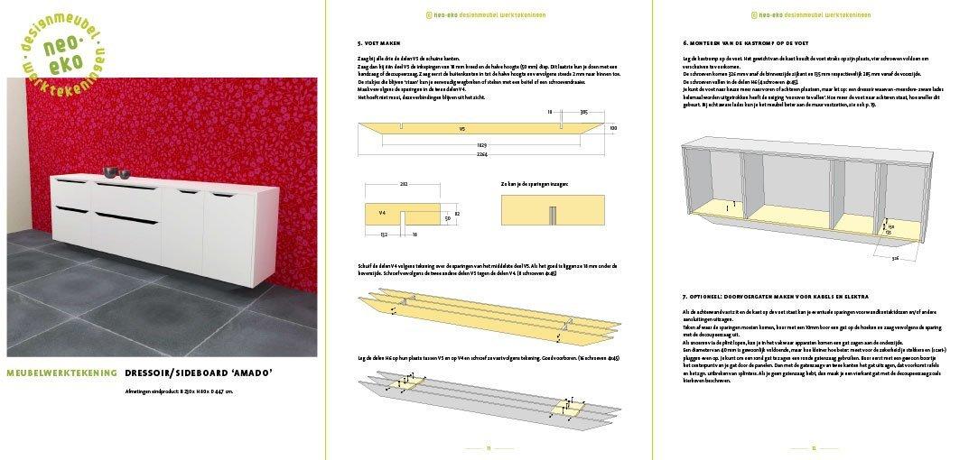 Bouwtekening kast | dressoir Amado Preview 3 pagina's