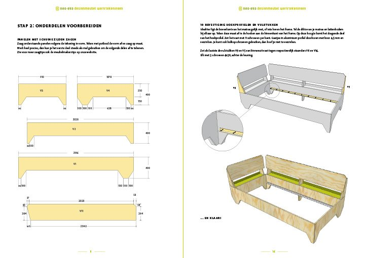 preview meubel werktekening tiener chill bed 2p