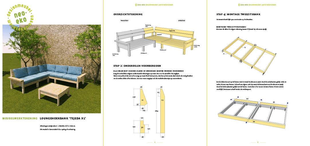 Zelf bouwen: bouwtekening lounge set TejedaXL